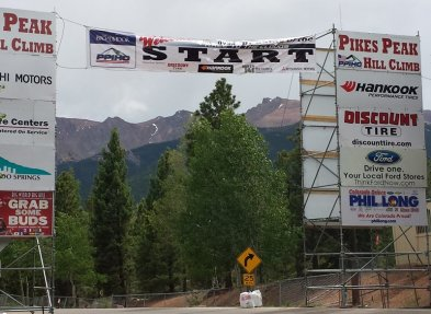 The Pikes Peak International Hill Climb begins with a sharp right not intended for racing speed. Craigslegz.com