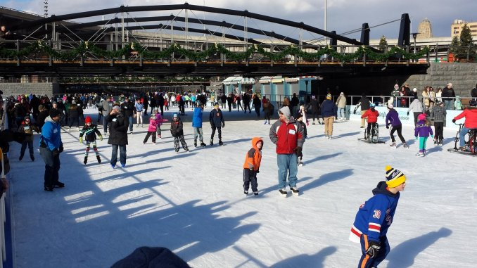Buffalo's Canalside district is a burgeoning mecca for hockey, skating and curling.