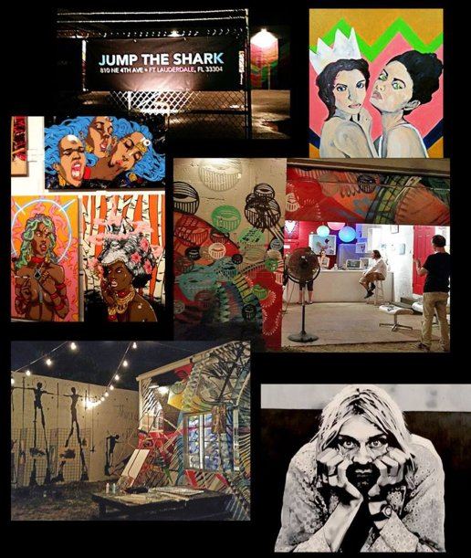 A variety of artwork is on display at Jump The Shark art and music venue in Fort Lauderdale. Fran Davis, photos and composite