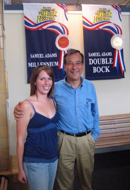 "Samuel Adams Brewery founder Jim Koch poses with Allison Davis after the tour. ""I just work here,"" he said. Craigslegz.com"