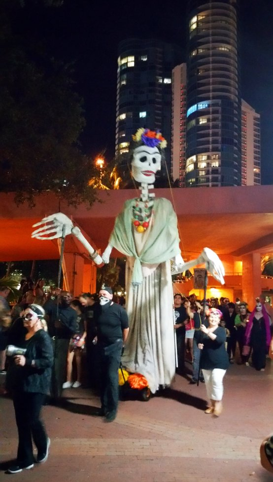 Larger-than-life puppets parade along Riverwalk in Fort Lauderdale on the Day of the Dead. Craig Davis/Craigslegz.com