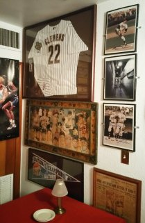 Former pitcher Roger Clemens' jersey is displayed in the 4th Base Restaurant. (Craig Davis/Craigslegztravels.com)