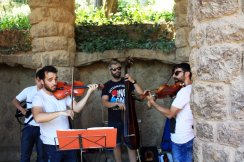 An electric string quartet performs at Parc Guell in Barcelona. (Craig Davis/Craigslegz.com)