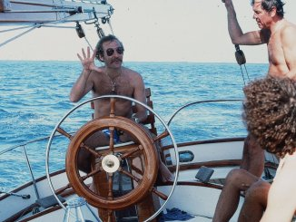 Jimmy Buffett at the wheel of Ticonderoga in the 1980 Fort Lauderdale to Key West Race.