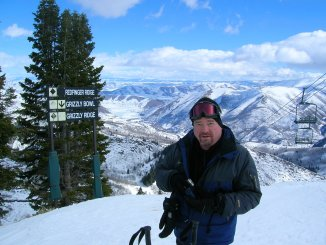 Wally Rutherford at the scenic top of Sundance Mountains ski resort in Utah.