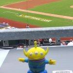BeBop the Craigslegz Travel Alien made the scene at the first Major League Baseball regular-season game played on a U.S. military base at Fort Bragg, N.C., between the Marlins and Braves in 2016. (Craig Davis/Craigslegztravels.com)