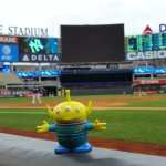 BeBob the Craigslegz Travel Alien from the visitors' dugout at Yankee Stadium. (Craig Davis/Craigslegztravels.com)