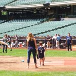 Bernie Brewer pitches to kids on Brewers Family Day 2017 at Miller Park. (Craig Davis/Craigslegztravels.com)