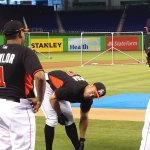 Josh Naylor meets Giancarlo Stanton and Christian Yelich after being drafted in the first round by the Miami Marlins in 2015. (Craig Davis/Craigslegztravels.com)