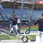 Giancarlo Stanton takes batting practice at Yankee Stadium. (Craig Davis/Craigslegztravels.com)