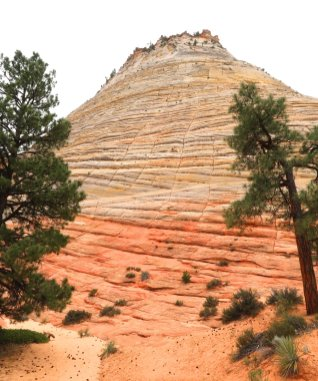 The 900-foot high Checkerboard Mesa is a famous landmark on the Zion-Mt. Carmel Highway. (Craig Davis/Craigslegztravels.com}