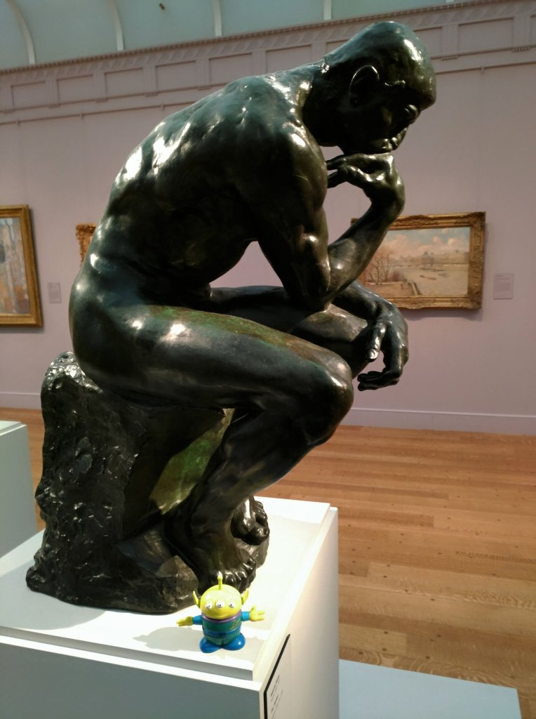 Bebop meets The Thinker at the Clark Institute of Art in Williamstown, Mass. (Craig Davis/CraigslegzTravels.com)