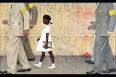 """""""The Problem We All Live With"""" depicts a famous incident in the desegregation of a public school in New Orleans."""