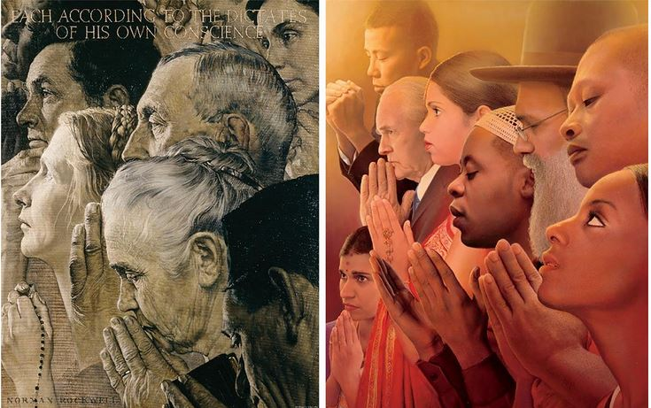 Norman Rockwell's Freedom of Worship, and Tim O'Brien's 2018 version at right.