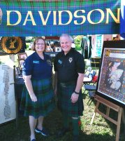 Jane Whitney and Grant Davidson Baker promoted Clan Davidson at the SE Florida Scottish Festival. (Craig Davis/Craigslegztravels.com)