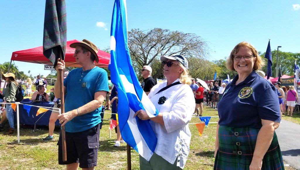 Ready to carry the banner of Clan Davidson in the ceremonial parade at the 2019 SE Florida Scottish Games. (Fran Davis/Craigslegztravels.com)