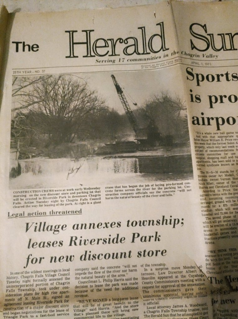 The local newspaper got Chagrin Falls residents riled up in 1971 with an April's Day suggesting that a parking lot was being built above the waterfalls along with commercial development in Riverside Park.