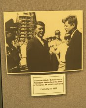Among the history photos in the restored bunker at pad 14 is one of President Kennedy's visit to the complex in 1962. (Craig Davis/Craigslegztravels.com)