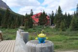 Bebop, the Craigslegz Travel Alien visits Bow Lake and the historic Num-Ti-Jah Lodge (in background) on the Icefields Parkway, Alberta. (Craig Davis/craigslegztravels.com)