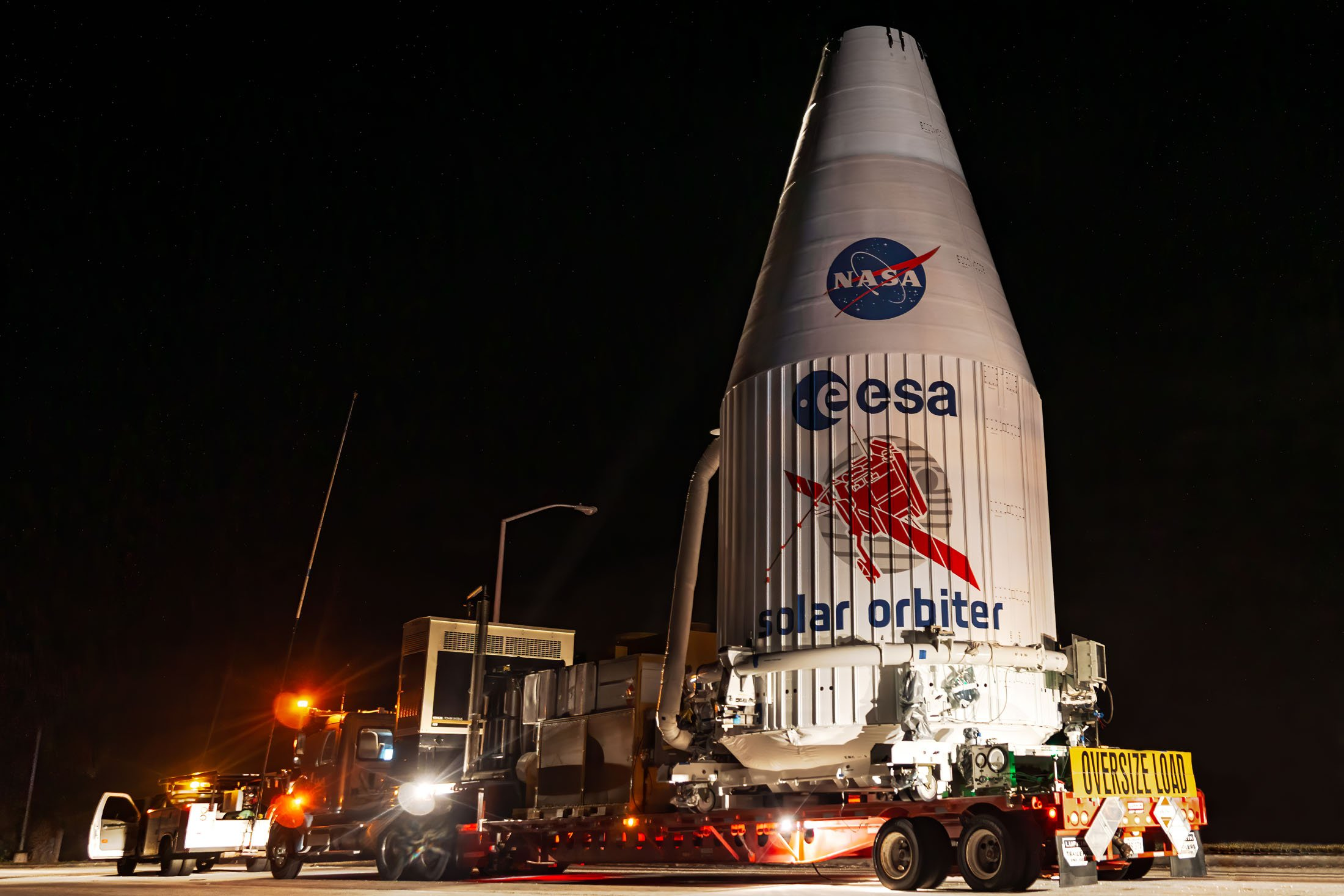 The Solar Orbiter, a probe to study the sun up close, is transported By United Launch Alliance in preparation to being launched atop an Atlas V 411 rocket. (Glenn Davis/glenndavisphotography.com)