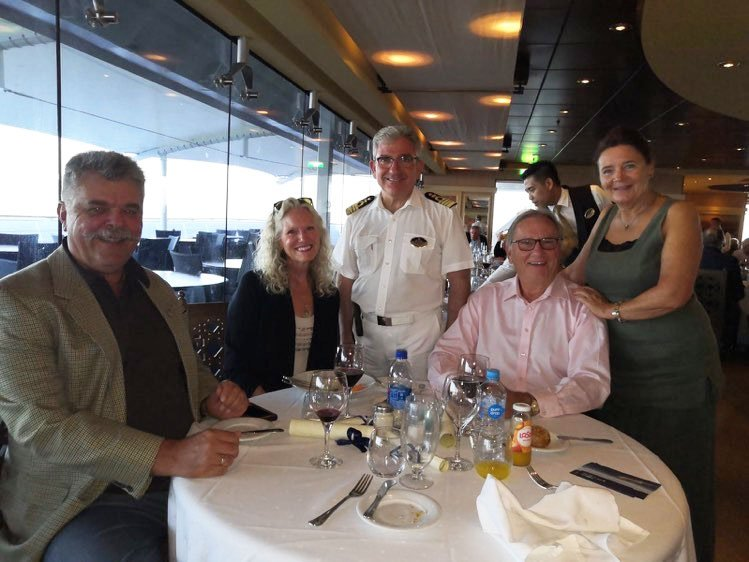 The Woywods with Captain Roberto Leotta aboard Magnifica. From left, Stephan, Cher, Michael and Hannelore. (Courtesy/Woywod family)