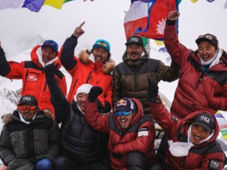 Nepalese climbers celebrate the first successful winter ascent of K2 mountain at the summit on Jan. 16, 2021.