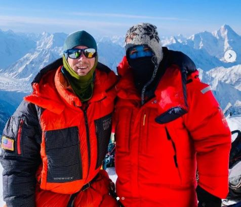 American Colin O'Brady, left, and Bulgarian climber Atanas Skatov at Camp 3 on K2 about an hour before Skatov plunged to his death while descending. (Colin O'Brady, Instagram)