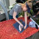 Artist Lisa Lee prepares to make a Gyotaku print off a fish in Islamorada, Florida. (Courtesy Gallery of the Arts)