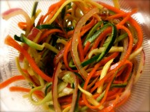 Zucchini, yellow squash, radish, carrot and red onion salad