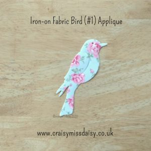 craisymissdaisy iron on fabric bird #1 applique