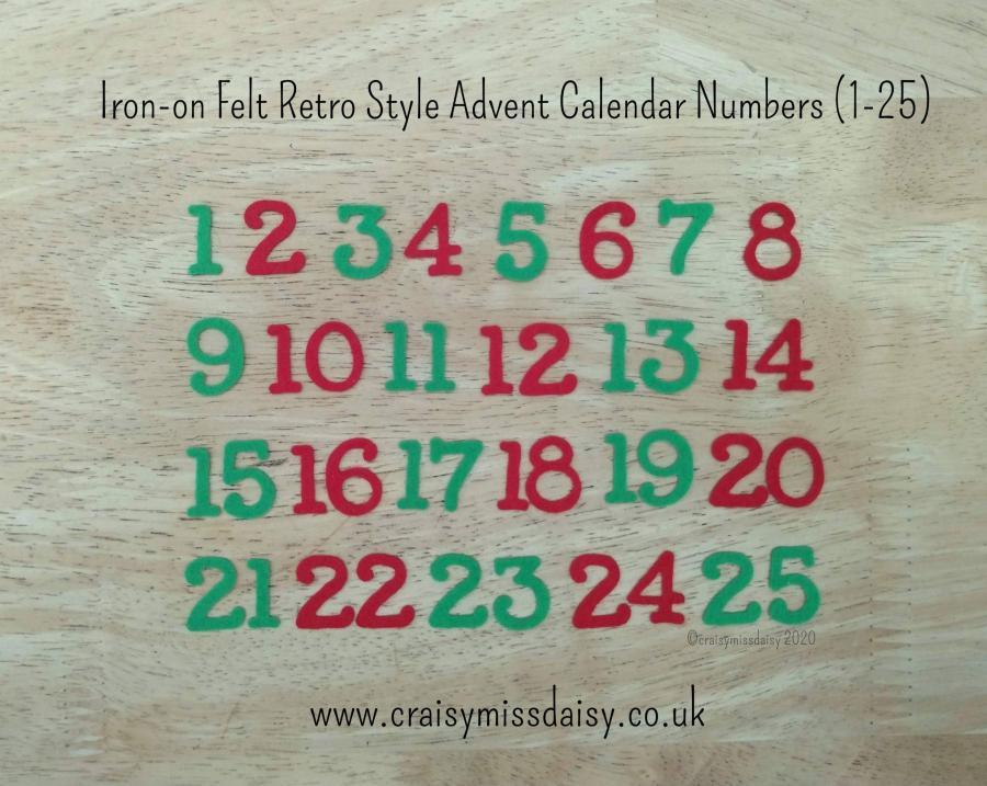 craisymissdaisy iron on felt retro advent numbers 1-25 red green
