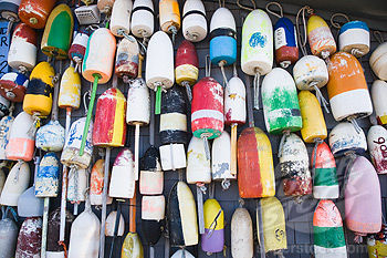 Lobster buoys hanging on a wall