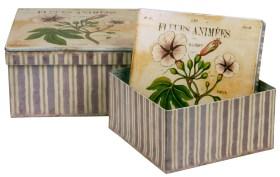Fyrkantiga plåtlådor med blommigt lock