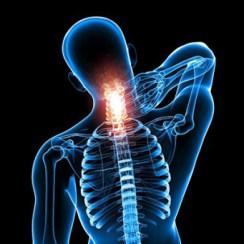 Mensch hält sich Schmerzstelle am Nacken, Craniosacrale Therapie