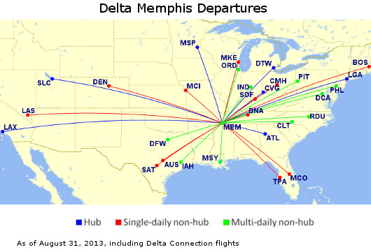 Delta Hubs Map on