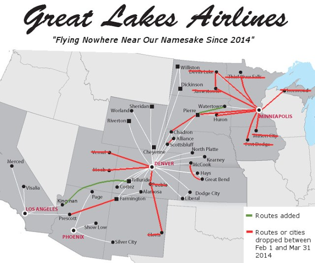 great lakes aviation route map Great Lakes Slashes Service To Small Cities Blames Pilot Shortage great lakes aviation route map