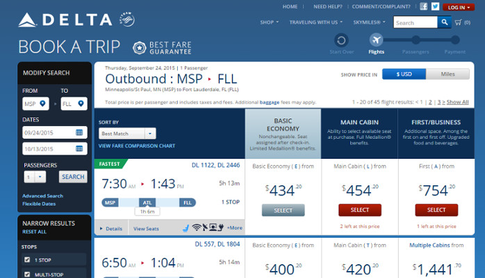 Delta Flight Search Results