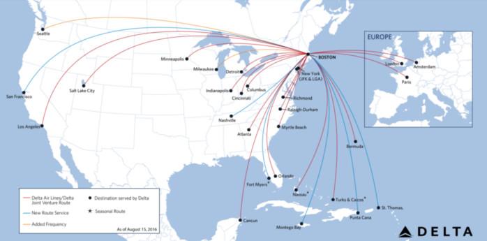 Delta Boston Routes