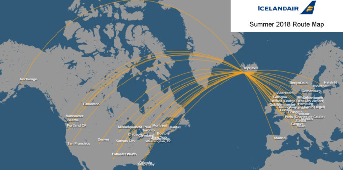 Icelandair Tries New Market Types to Protect Its Model in a ... on republic airways holdings route map, south african airways route map, tacv route map, lot polish route map, new jersey transit route map, xtra airways route map, delta airlines 757 seat map, jfk airtrain route map, jetblue route map, biman route map, florida route map, xl airways route map, flying tiger line route map, union pacific railroad route map, volaris route map, airline route map, casino express route map, tame route map,