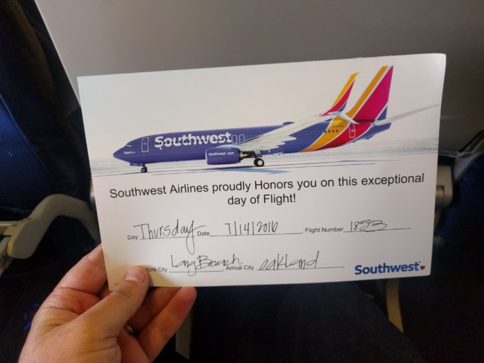 Southwest Flight Certificate
