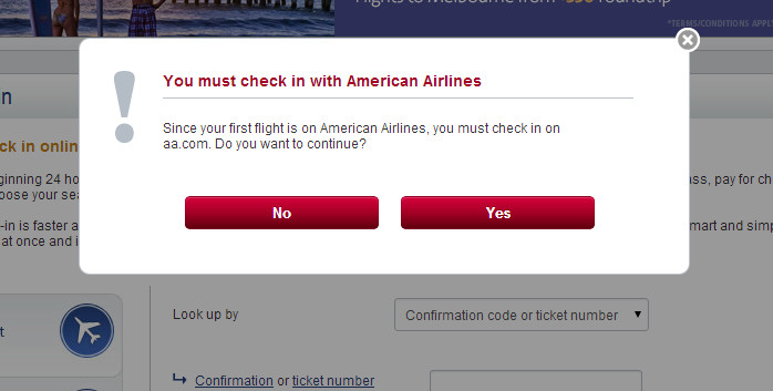 US to AA Check In