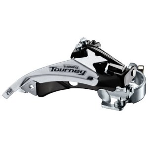 Shimano Front Derailleur, FD-TY510-TS6, TOURNEY, Top-Swing, DUAL-Pull, for Rear 6/7-Speed,Band Type 34.9MM(w/S & M Adapter),CS Angle:66-69, for 48T,CL:47.5/50MM