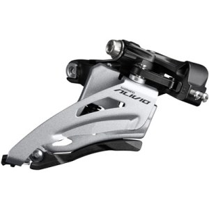Shimano Front Derailleur, FD-M3120-M-B, Alivio, for 2X9, MID CLAMP, Side-Swing, 34.9MM Band (w/31.8 & 28.6MM Adapter), CS-Angle: 64-69, for TOP Gear: 36T, CL: 51.8MM
