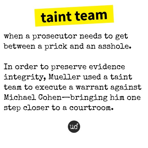 With Trump fixer Michael Cohen about to flip, 'taint team' is even more relevant today