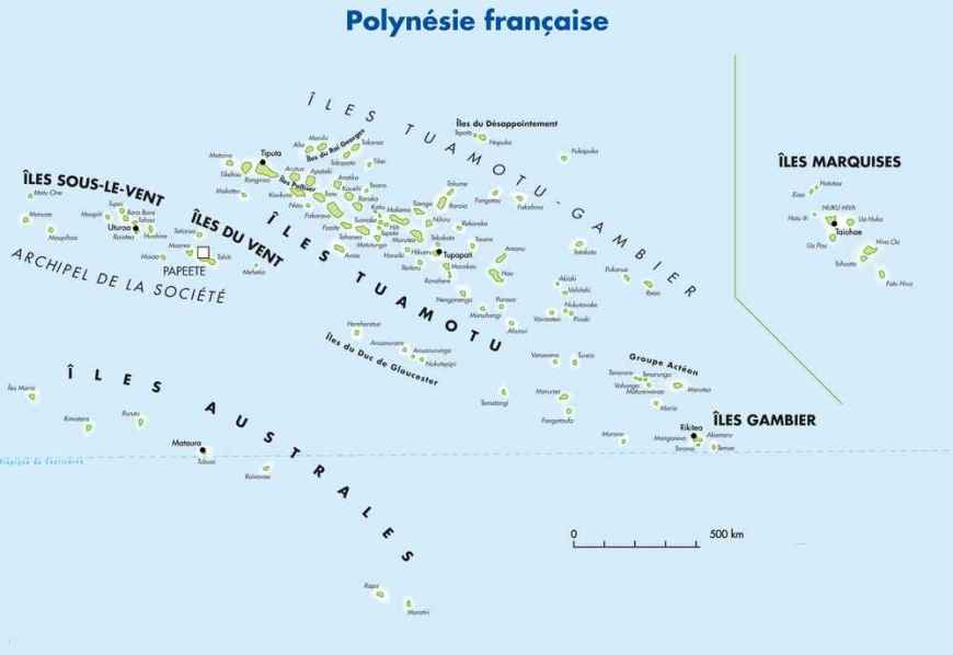 Carte Polynésie Française - Tour du Monde Le Crapaud Voyageur