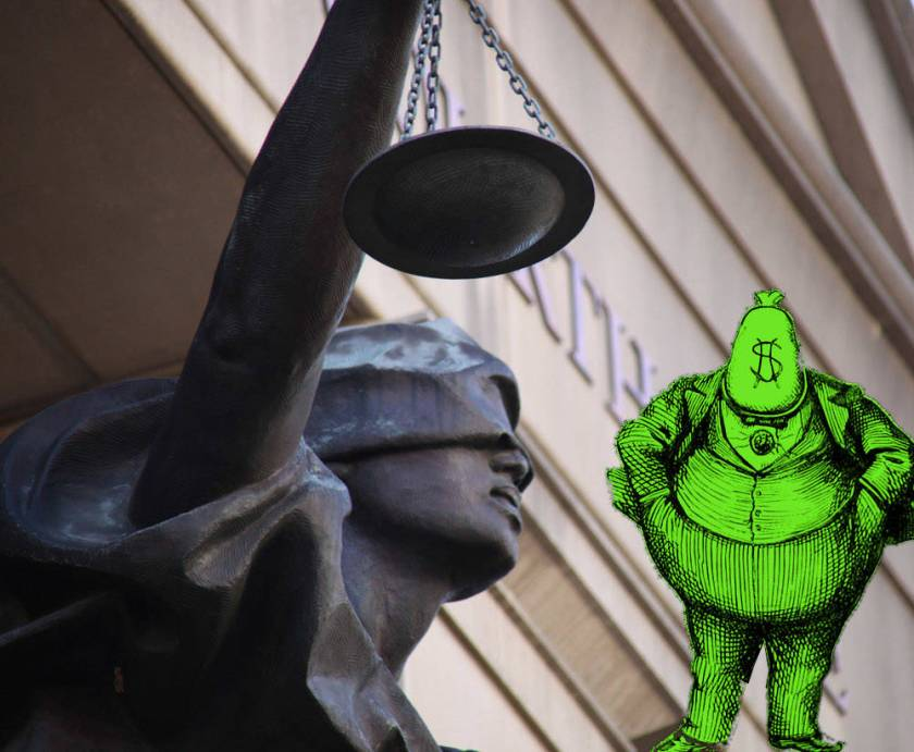 A statue of blind justice outside of a courthouse; in the corner lurks a caricature of a fat-cat businessman with a bag of money in place of his head.