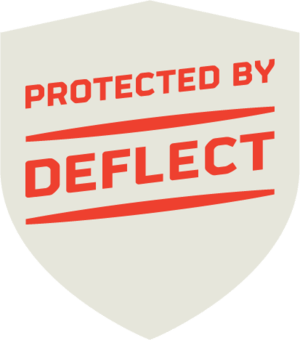 badge for deflect.ca, reading 'Protected by Deflect'