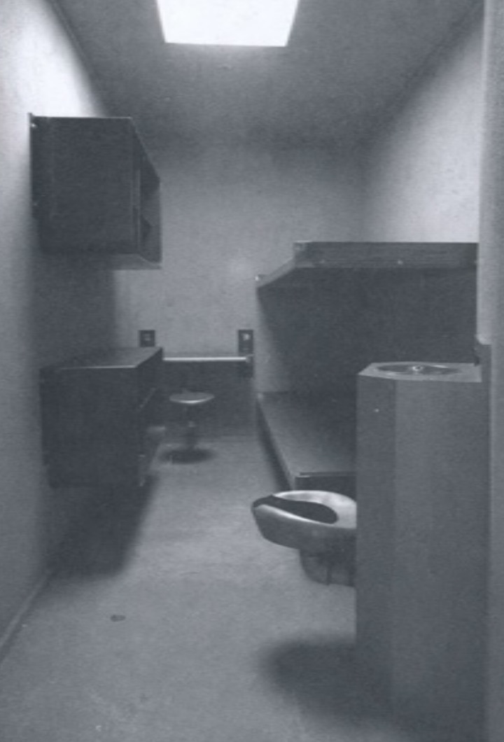 A museum reproduction of Angelo's cell, produced from his floorplans.