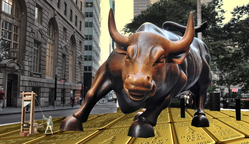 The Wall Street 'Charging Bull' sculpture; the cobblestones beneath his feet have been replaced by ranks of gold bullion, and a French revolutionary engraving of a guillotine beheading a bourgeois stands by his front foot.