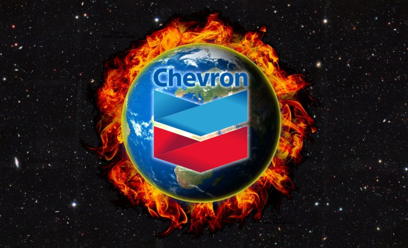 The Earth floating in space, wreathed in flame; centered over it is the Chevron logo.